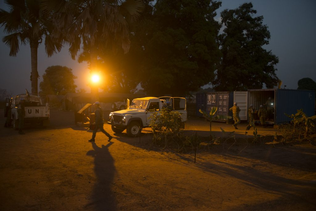 MONUSCO base in Duru village, Haut Uele province. Soldiers from the Moroccan battalion are preparing to escort a UNHCR convoy to Bitima, a village near the South Sudan border where 600 refugees have fled from Western Equatoria.