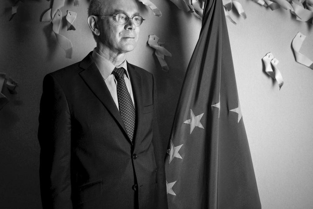 Herman Van Rompuy, président du Conseil européen et président du sommet de la zone euro, siège du Conseil de de l'Union Européene, Bruxelles.