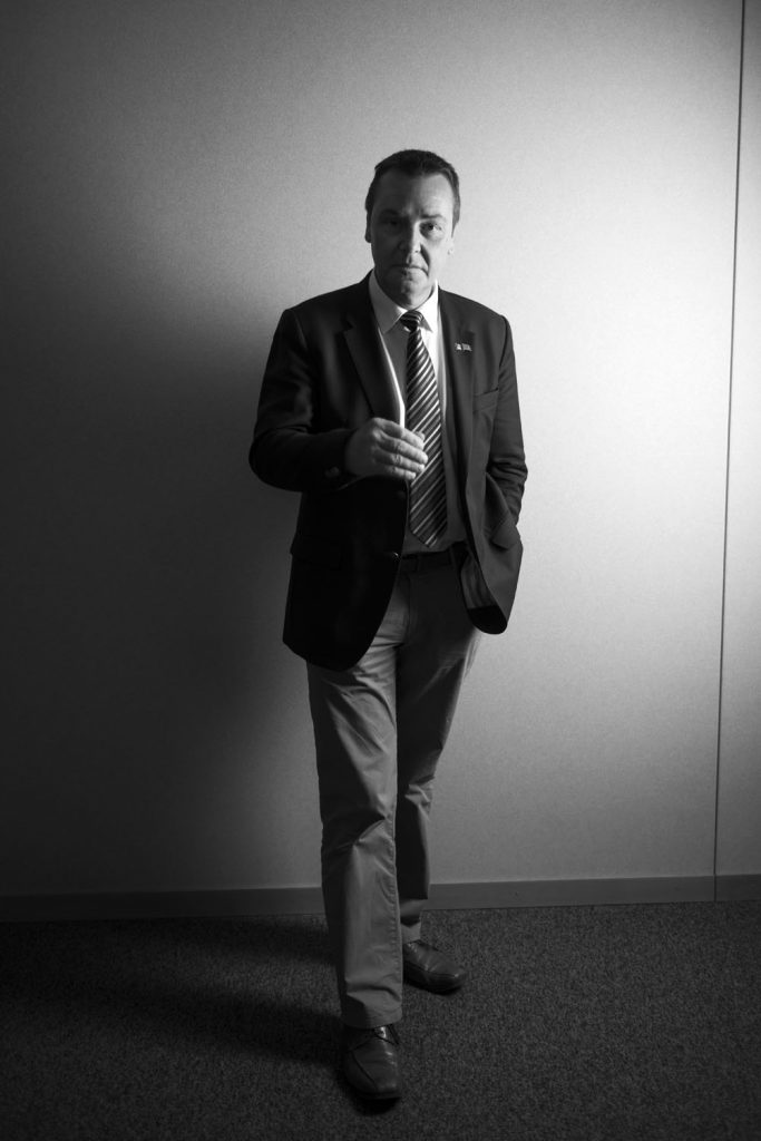 Brussels, Belgium – 9 September 2014. Mark Demesmaeker, member of the European Parliament and affiliated to the New Flemish Alliance (N-VA), at his office in Brussels. The N-VA and other separatist movements around the European Union are following very closely the referendum for self-determination in Scotland, seeing the vote as legitimising their own demands.