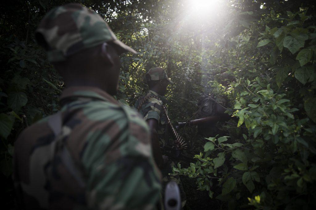 Rutshuru territory, November 2012. M23 patrol in Virunga National Park. //Territoire de Rutshuru, novembre 2012. Patrouille du M23 dans le Parc de la Virunga.Le M23 est né en avril 2012 d'une mutinerie au sein de l'armée congolaise. Le groupe rebelle revendiquait que les termes de l'accord du 23 mars 2009 entre le CNDP (milice politique armée dirigée par Laurent Nkunda) et Kinshasa n'avaient pas été respectés.
