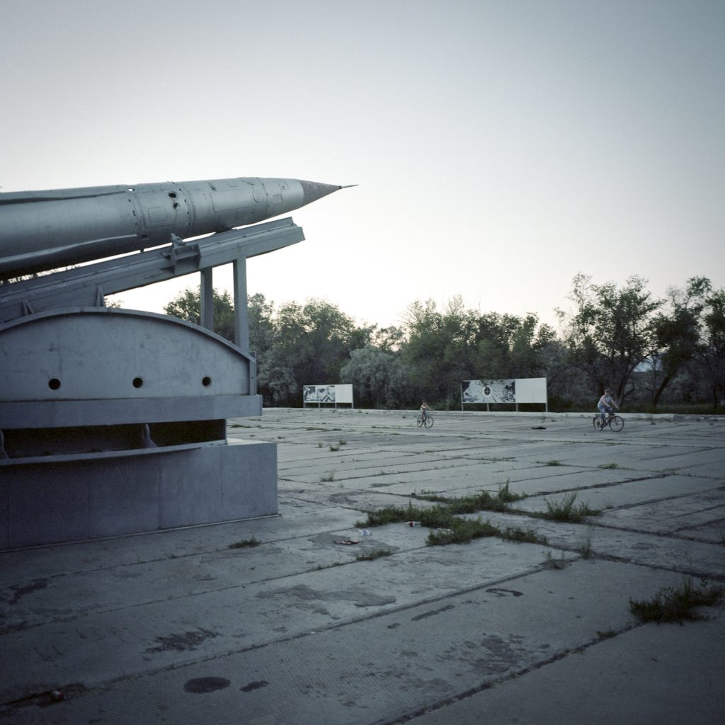 Balistic missile relic, Priozersk. This former closed town was used as the administration centre of the Sary Shagan polygon.