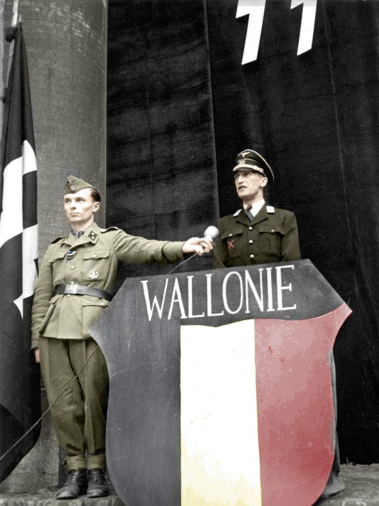Ce mercredi 24 mai 1944 ç eu lieu à Bruxelles le départ d'un nouveau contingent de volontaires Wallons pour les waffens SS. Durant une courte cérémonie à la Frontleitstelle le chef de Rex, a.i. Victor MAtthys a addressé une allocutions aux volontaires.